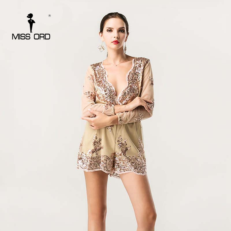 Missord 2017 Sexy V neck long sleeve sequin playsuit FT4340