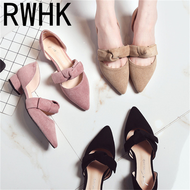 RWHK 2019 sweet spring and summer new suede sandals female bow thick with wild pointed low-heeled shoes B281