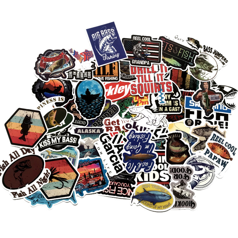 50pcs Outdoor Fishing Enthusiasts Stickers For Mobile Phone Laptop Luggage Guitar Case Skateboard Fixed Gear Bike Stickers F2