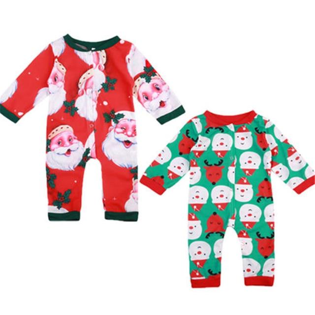 Xmas Santa Claus Print Romper Baby Boy Girl Christmas Jumpsuit Newborn Baby Long Sleeve Romper 2017 New Body Suit For Newborns