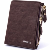 Fashion Double Zipper Coin Bag RFID Blocking Men Wallets New Brand PU Leather Wallet Money Purses