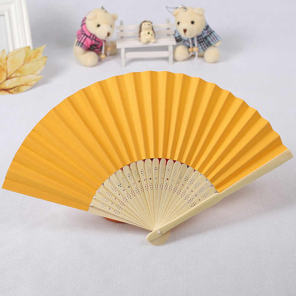chinese hand fans Pattern Folding fan Dance Wedding Party Folding Hand Held Solid Color fan paper hand-held fan wooden hand fan