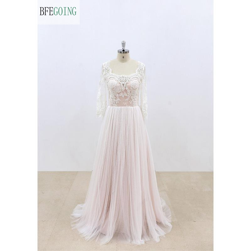 Ivory  Lace Appliques Tulle  Pink Lining Beading  Scoop Long Sleeves Floor-Length Wedding Dresses Chapel Train
