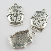 100Pcs Antiqued Silver Tone Cross Charms Shield Pendants 15x23mm K5304