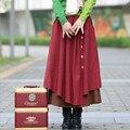 Otoño Invierno Mujeres de La Falda de Cintura Alta Faldas Plisadas Falda Maxi Más El Tamaño Largo Ocasional de la Ropa de Algodón de La Vendimia, Saia, Faldas S198