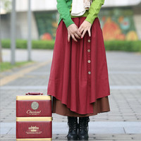Spring Autumn Winter Explosion Models Women S Clothes Bust Skirts Big Swing Casual Cotton Linen Literary