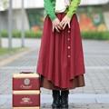Outono Inverno Mulheres Saia De Cintura Alta Plissada Saias Plus Size Casual Longo Maxi Saia Saia de Algodão de Linho Vintage, Saia, Faldas S198