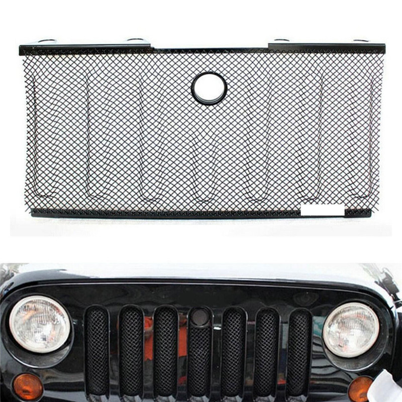BBQ@FUKA Car Hood Grill Grille Insert Mesh Cover Trim Lock Hole For Jeep Wrangler 2007-2015 Car Exterior Accessories Styling front grill mesh grill insert set cover front grille sticker racing grills trim for jeep wrangler jk 2007 2015