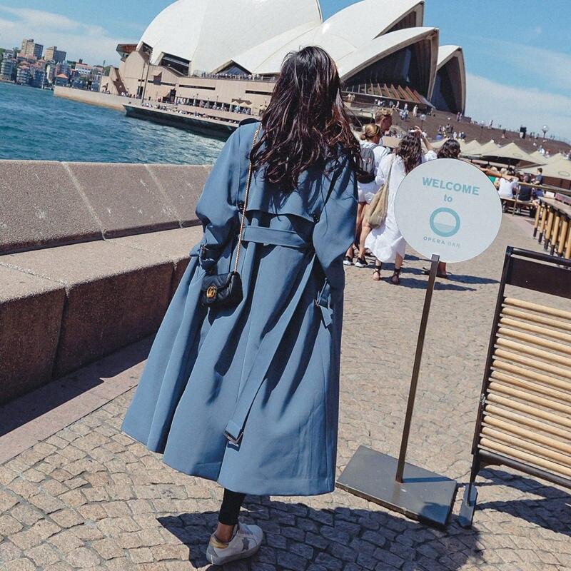 2019 New Fashion Windbreaker Coat Female British Style Long   Trench   Coat Womens Slim Belt Cloak Mujer Female Outwear Abrigos x882