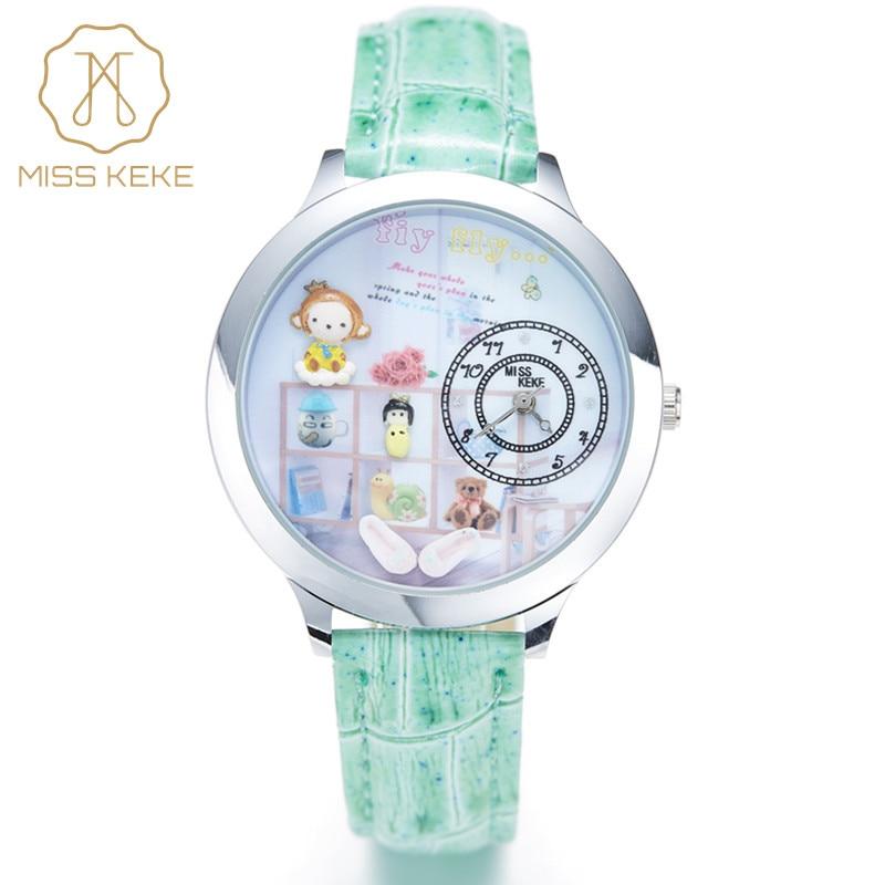 Miss Keke Cartoon Watches Women 3D Clay Quartz-Watch Leather Waterproof Watch Analog Ladies Casual Wristwatches 8 montre femme