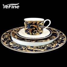 YeFine Ceramic High-grade Gold Plating Bone China Dinnerware Plates Set Steak Dishes Porcelain Tableware Set Cups And Saucers