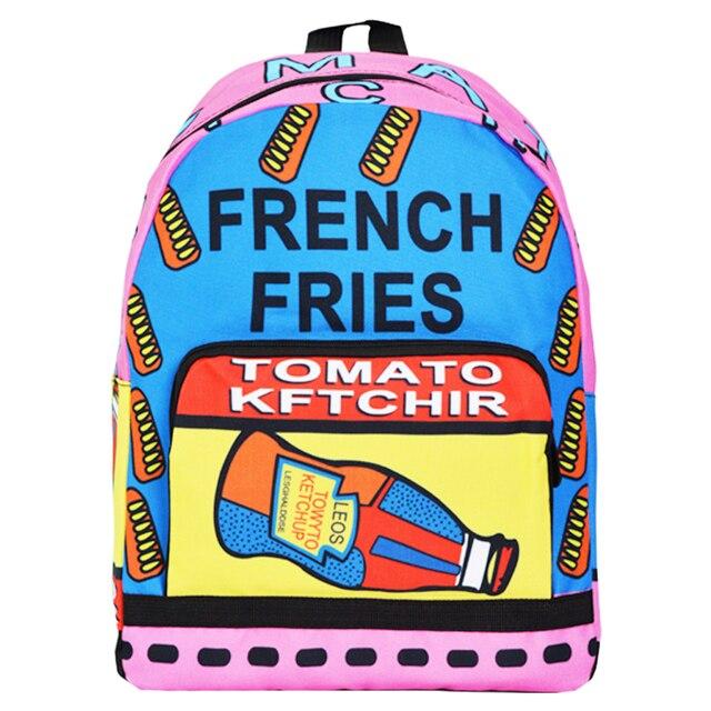 Colorful fancy backpack printed girls school book bag funny printing ...