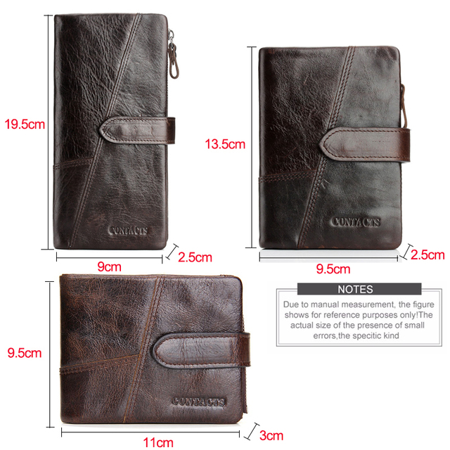 CONTACT'S Genuine Crazy Horse Cowhide Leather Men Wallets Fashion Purse With Card Holder Vintage Long Wallet Clutch Wrist Bag 4