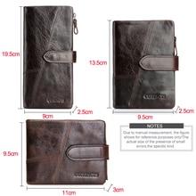 Genuine Crazy Horse Cowhide Leather Men Wallets Fashion Purse With Card Holder Vintage Long Wallet Clutch Wrist Bag