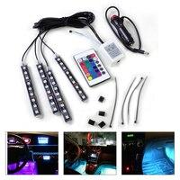 DWCX Xe Sàn Nội Thất 9 LED Từ Xa Footwell Điều Khiển Đầy Màu Sắc Trang Trí ánh sáng Neon Strip đối với Ford Audi A4 A6 Nissan VW Toyota