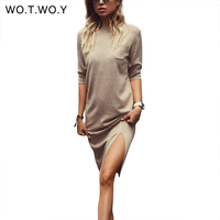 WOTWOY Spring Autumn Casual Loose Style Women Dress Half Sleeve Pocket Split Dresses Ladies Solid Midi