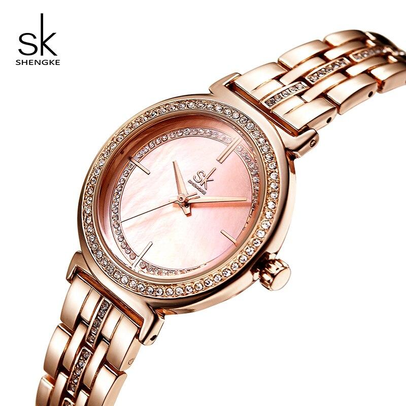 Shengke Luxury Shell Dial Women Wrist Watches 2019 Rose Gold Relogio Feminino SK Ladies Quartz Watch Women Clock Montre Femme