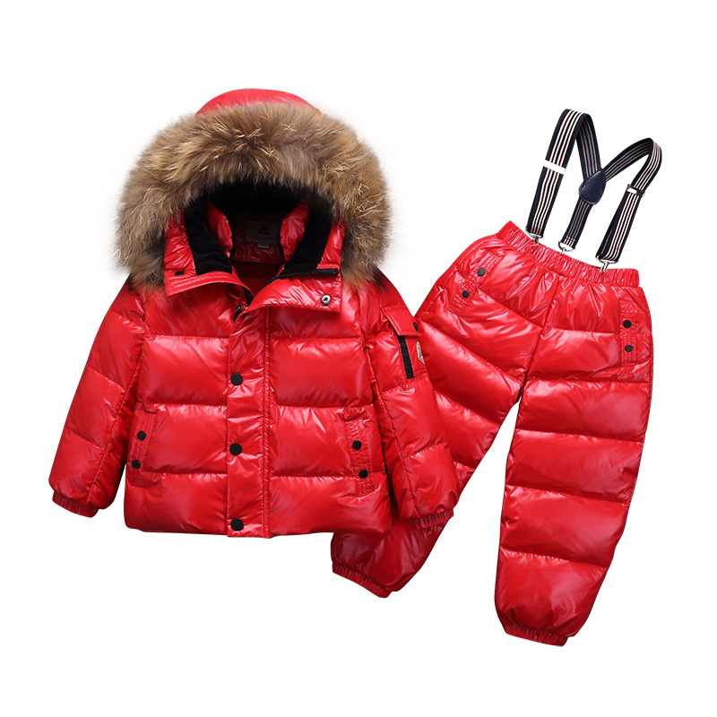 -30 Degree Winter Children Clothing Sets Baby Boy Girls White Duck Down Snow Wear Thick Coats Overalls Jacket Kids Clothes Suit-30 Degree Winter Children Clothing Sets Baby Boy Girls White Duck Down Snow Wear Thick Coats Overalls Jacket Kids Clothes Suit