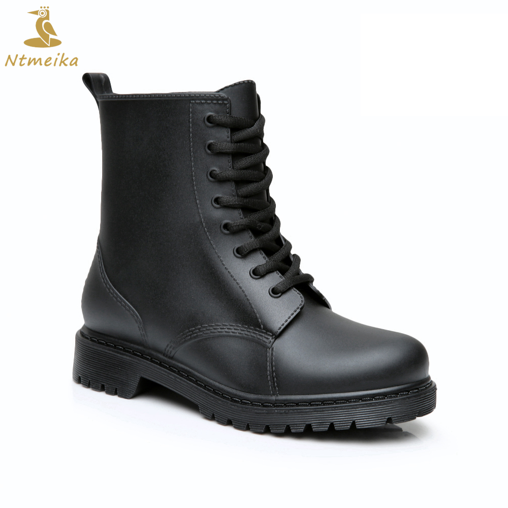 2018 Fashion Mens Rubber Rain Boots Plus Size 38-44 High Quality Waterpoof Shoes Men Black Platform Shoes Lace-Up Chelsea Boots