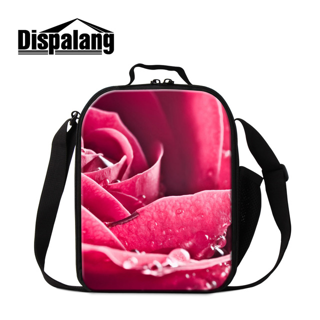 5863b4c098 Dispalang big red rose pattern new lunch bag for teenager girls women  fashion thermal food container