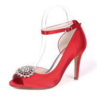 OnnPnnQ High Heels Satin Women Dress Shoes Peep Toe Heeled Ankle Buckle Strap Evening Prom Wedding Bridal Party Ladies Pumps