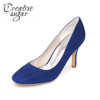 Sparkle Glitter Concise Slip On Heels 8 5cm High Heel Wedding Party Cocktail Lady Shoes Silver