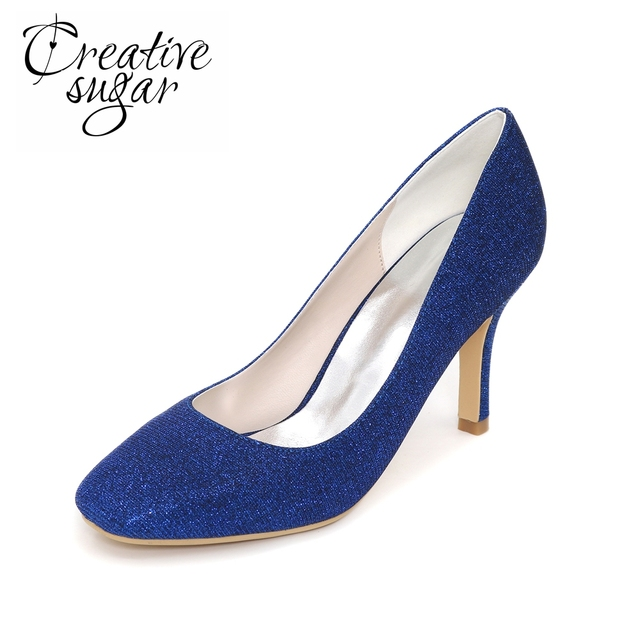 Creativesugar Sparkle Glitter Closed Toe High Heel Wedding Party Tail Lady Dress Shoes Silver Gold Blue