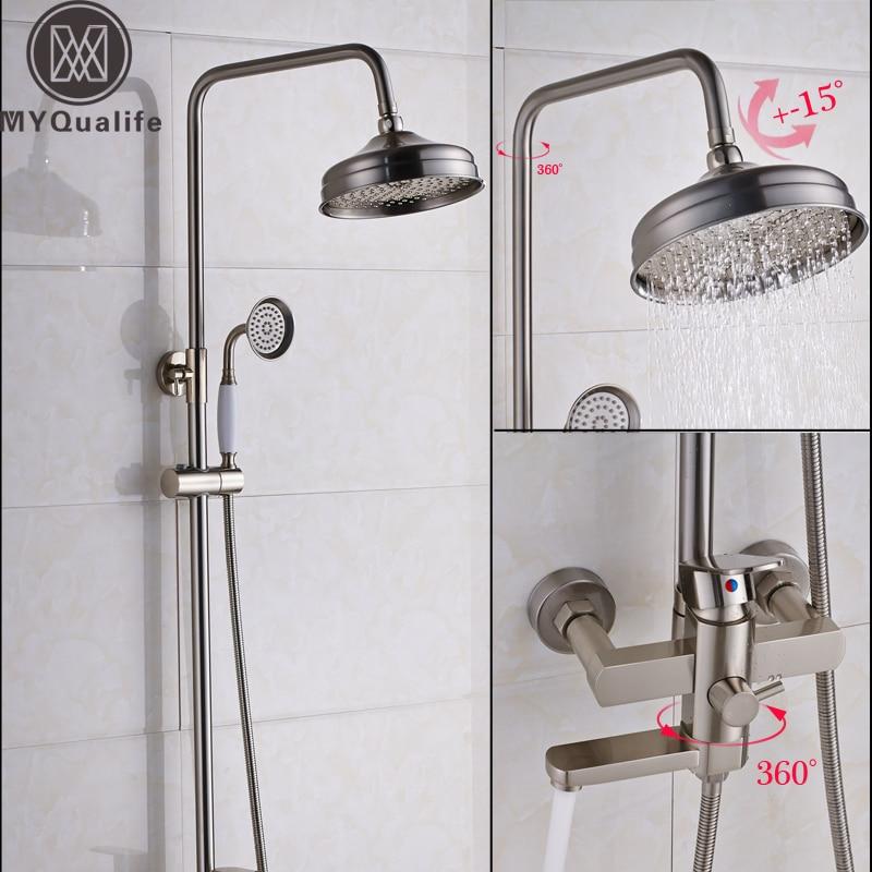 brushed nickel bath shower faucet set single lever rainfall 8 shower head swivel spout shower system with handshower