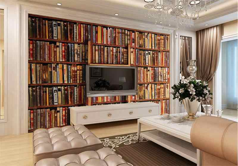 3d photo wallpaper custom room mural non-woven sticker Retro Style Bookcase bookshelf Painting sofa TV background wall wallpaper