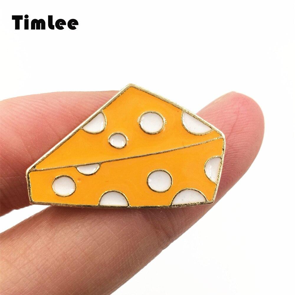 Timlee X222 Cartoon Cute  Yellow Cheese Design  Metal Brooch Pins Gift Wholesale