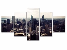 5 pieces / set of bustling city night wall art for decorating home Decorative painting on canvas framed/XC-City-91