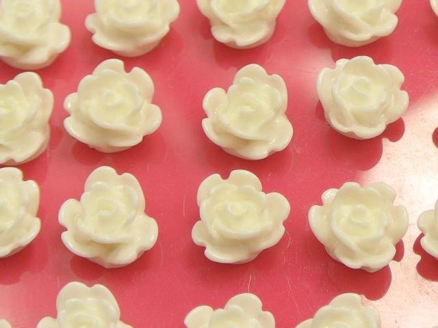 """50 Pink Juliet Rose Flower Flatback Resin Cabochon 8mm 0.31/"""""""