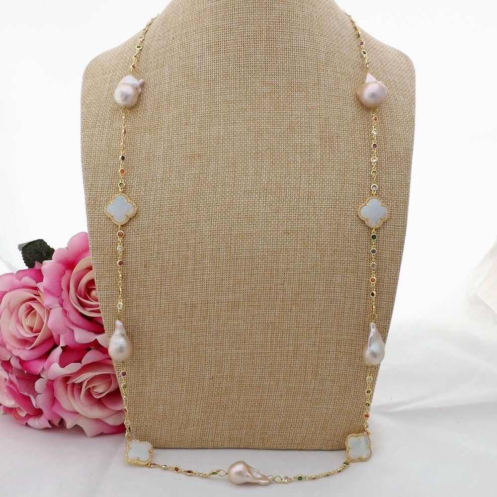 GE091304 36'' Pink Keshi Pearl Crystal Chain Necklace