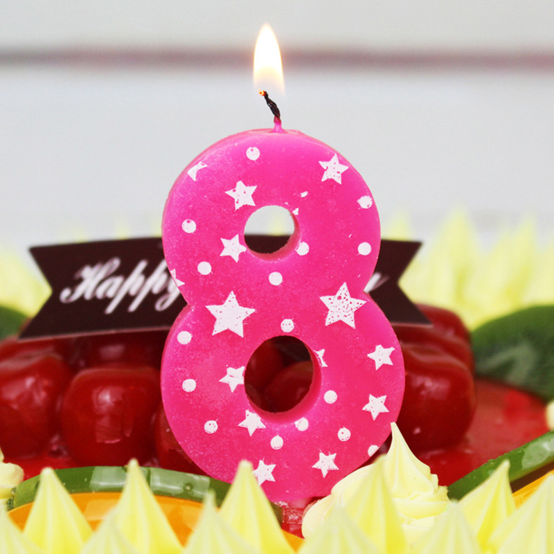 Paillette Ice Candle Blue for Children Baby Birthday Party Home Decor Supplies