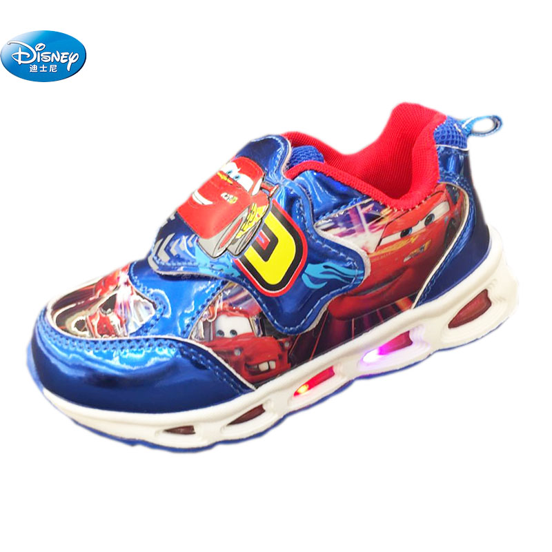Disney Cars Children Casual Shoes Spring Autumn 2019 New LED  Lights Flash Boys Cartoon School Student Sneaker Europe Size 22-27