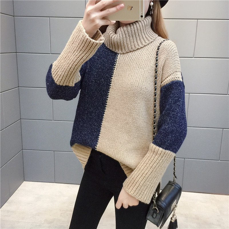 Invierno moda mujer suéteres camisa de tejer cuello alto