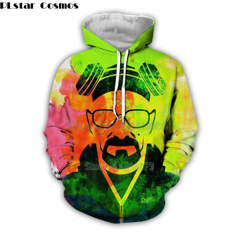 PLstar Cosmos Fashion Men <font><b>hoodies</b></font> movies breaking Bad Heisenberg Funny Print <font><b>3d</b></font> Hoodie <font><b>Unisex</b></font> streetwear Hooded Sweatshirt KJ024 image