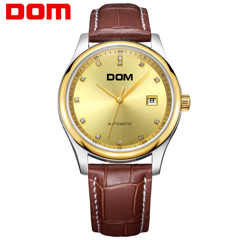 DOM  mechanical man watch top brand luxury  waterproof  leather  mens watches crystal reloj hombre M-95GL-9M dom men watch top brand luxury waterproof mechanical watches stainless steel sapphire crystal automatic date reloj hombre m 8040