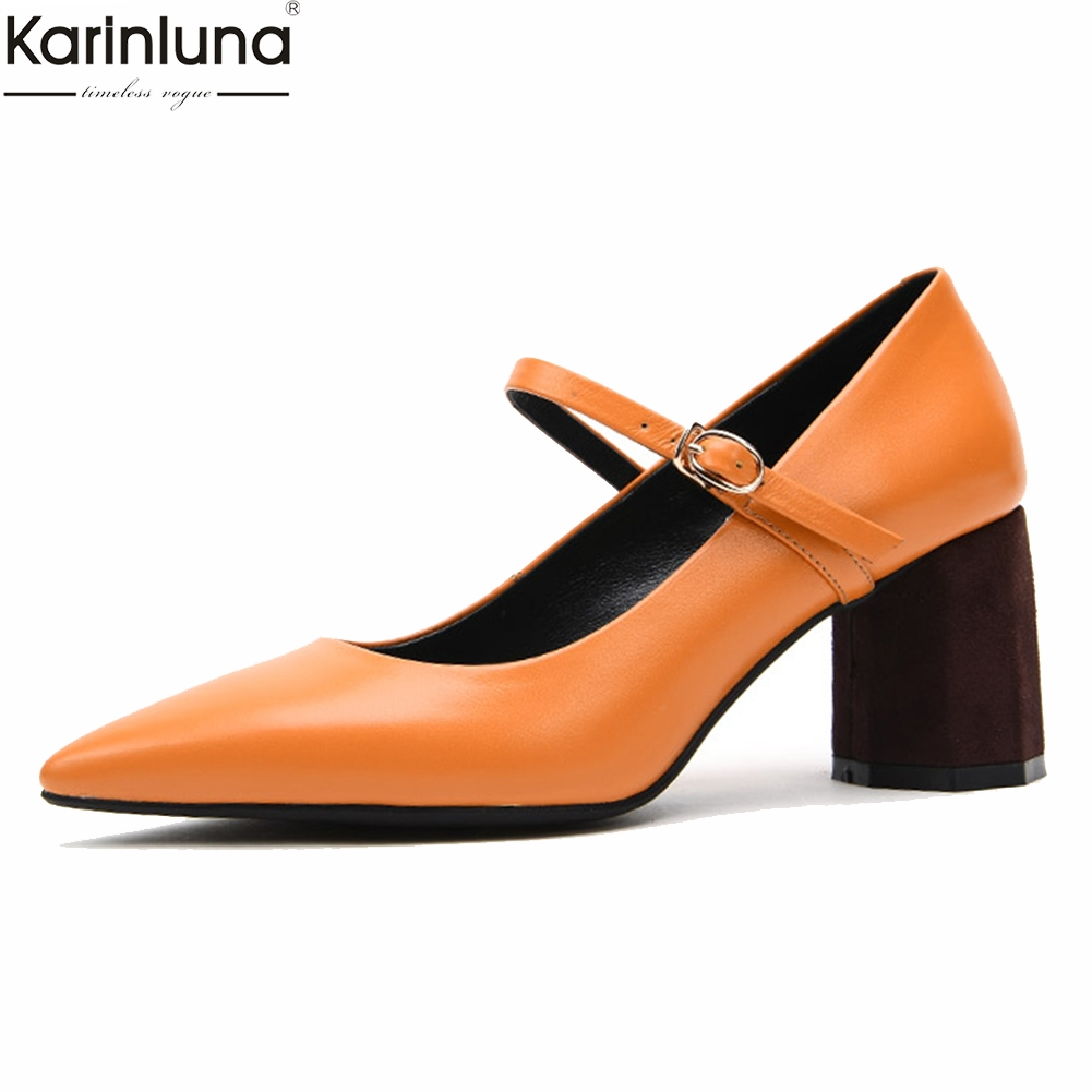KarinLuna marque Design Sexy en cuir véritable Mary Janes femme chaussures Chunky talons hauts bout pointu chaussures femme