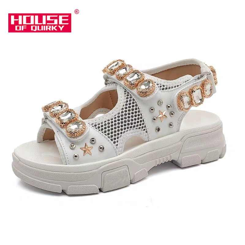 Sexy Hollow Out Women Sport Sandals Fashion Fish Mouth Open-toed Beach Shoes Outdoor Wedge Shoes Women Diamond Summer Shoes 2019