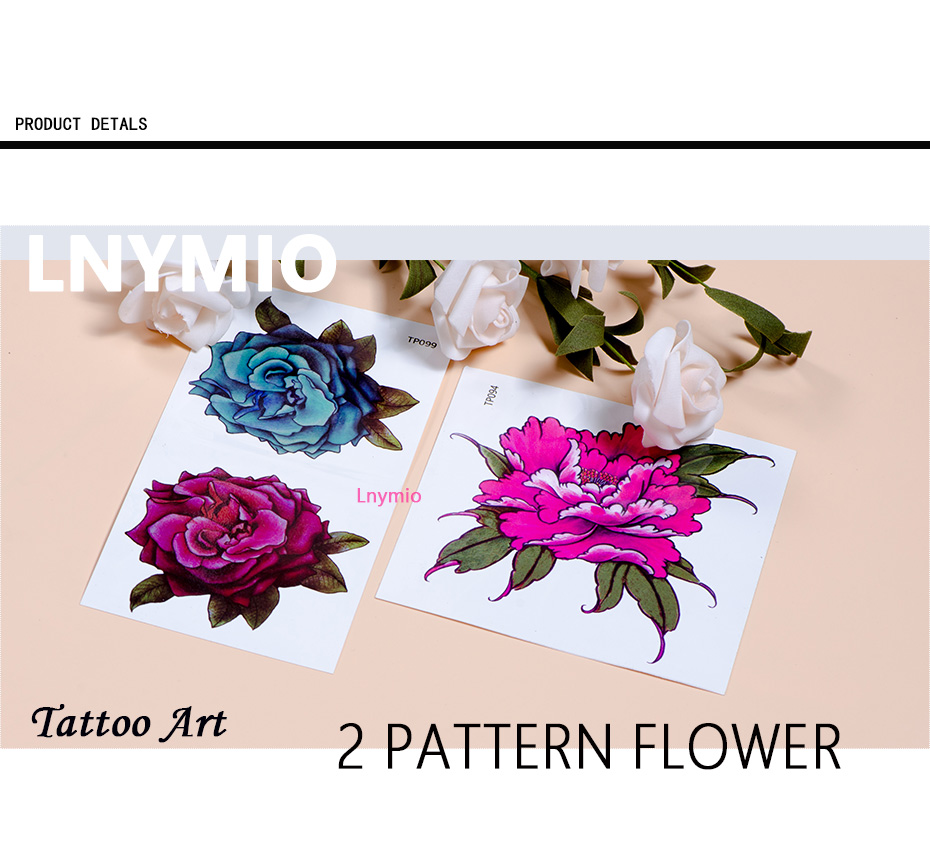 17 Lnymio temporary tattoo pretty flower large size pink and blue body art tattoo sticker 9