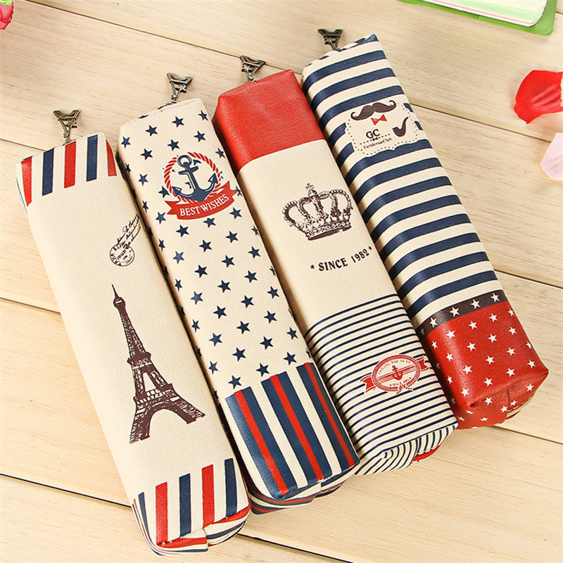 Crown Style Retro Canvas Large Capacity Pencil Case Multifunctional Stationery Pencil Bag School Supplies 20.5*5.2*4.8cm 04841
