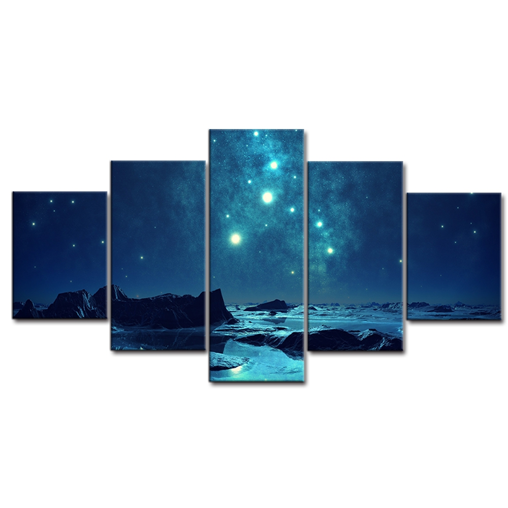 HD Print Wall art canvas 5 Panel Blue Aurora Landscape Modular Picture Starry Sky Poster Art Canvas Painting For Living Room in Painting Calligraphy from Home Garden