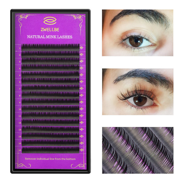 zwellbe 16Rows/Case JBCD Curl Eyelashes Extension Cilia 8-15 mm Lashes Extension for Faux Mink Individual Eyelash Extension