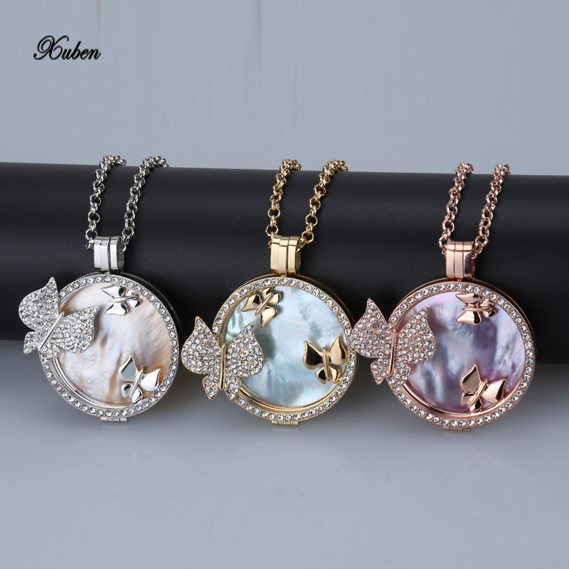 New my 35mm coin holder pendant necklace stainless steel gold butterfly mi 33mm coins shell fit 80cm chain Jewelry for love gift