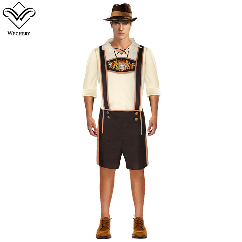 Wechery Men's Costume German Beer Dress Up Suspender Short Pants and Tops with Hat Holiday Festival Celebrate Costumes