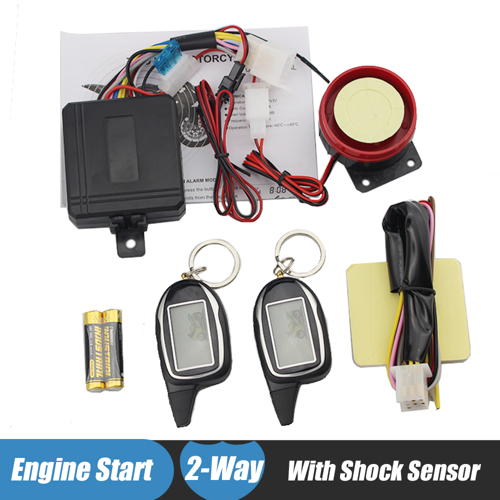 Two Way Motorcycle Alarm Anti-theft System With Shock Sensor 2 Way Motorbike Security Alarm Long Range Remote Engine Start/Stop easyguard pke car alarm system remote engine start stop shock sensor push button start stop window rise up automatically