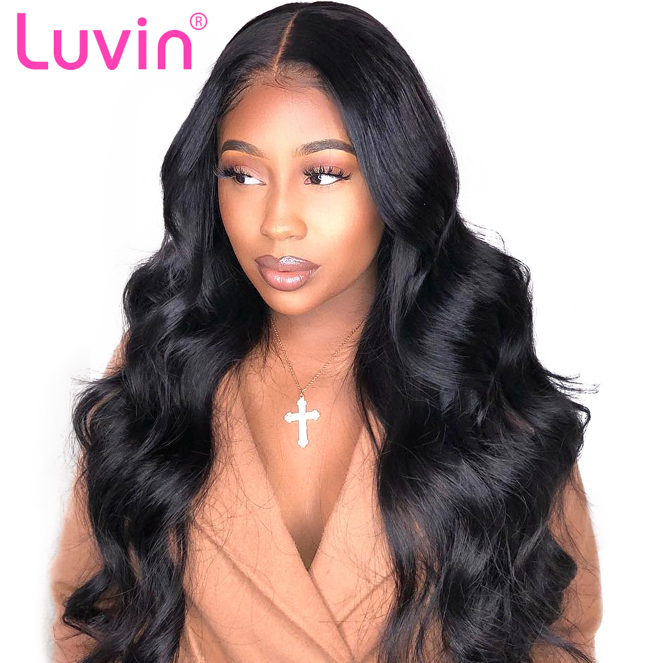 Luvin 13x6 Body Wave Long Lace Front Human Hair Wigs Brazilian Remy Hair Short Wig for