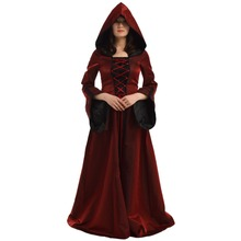 Hood Witch Costume Women Medieval Renaissance Corset Dress Cosplay Clothes