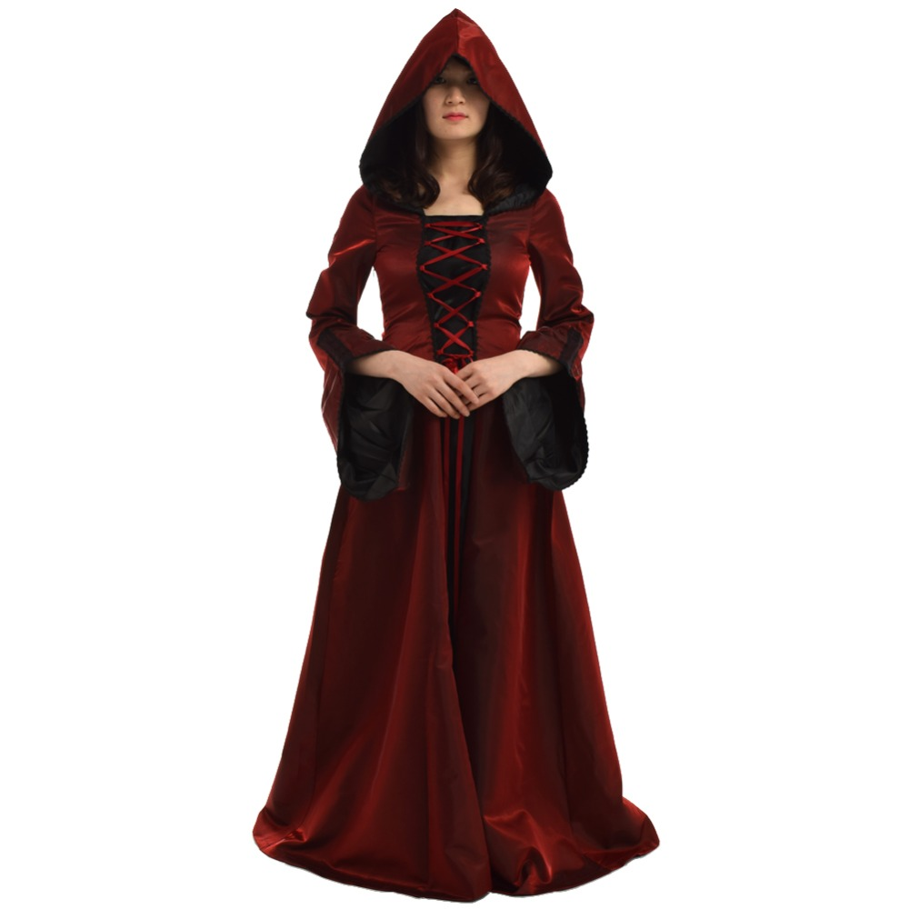 Halloween kostym för kvinnor Retro Victorian Renaissance Trumpet Sleeve Hooded Gown Saint Medieval Dress